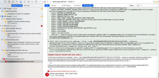 已解決】Xcode打包失敗:xcrun codesign failed with exit code